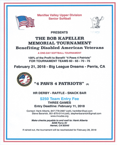 Bob Kapellar Tourney Flyer